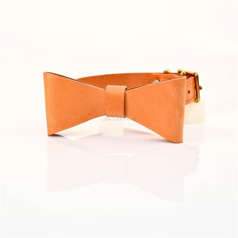 LPNY Sand Bow Tie Leather Collar