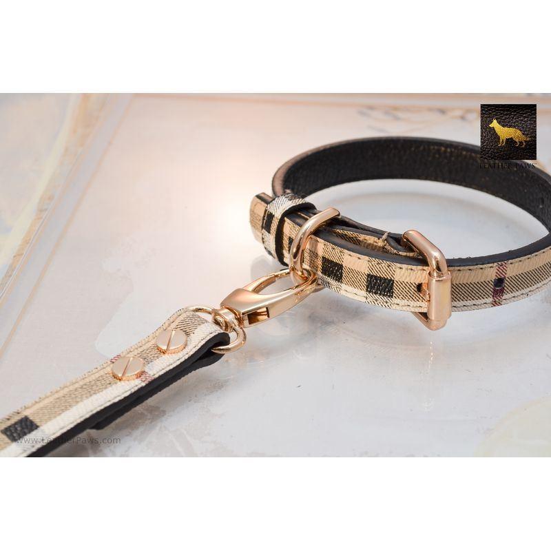Leather Paws Plaid Designer Leather Collar 3