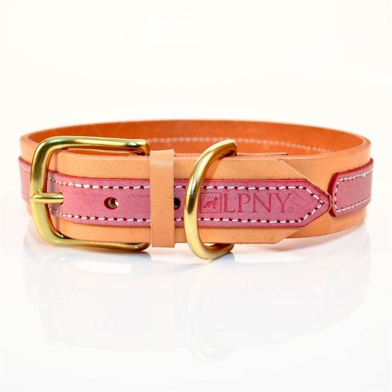 LPNY Pink Leather Dog Collar